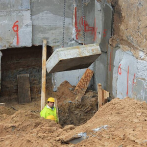 …. some construction workers have already reached the deepest level of the excavation. The base plate of the new building will lie significantly deeper than the one of the old fabrication hall…