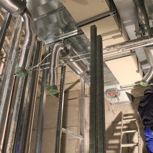 The complex air ventilation system is installed in the basement…