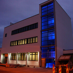 Beginning of April 2016: Almost complete! Our new building, photo taken at 9 p.m. The staircase seem to glow in bright blue colour from within itself!