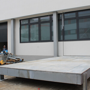 This solid platform helps to bring the heavy machinery into the new production hall…